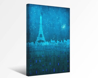 The Eiffel tower in Paris - Paris Canvas print Ready to hang Art Home decor Wall decor Wedding gift ideas Living room decor Turquoise Blue
