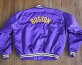 vintage ULTRA RARE 1970's BOSTON Mass Satin Nylon Jacket Purple & Yellow sports Starter Style