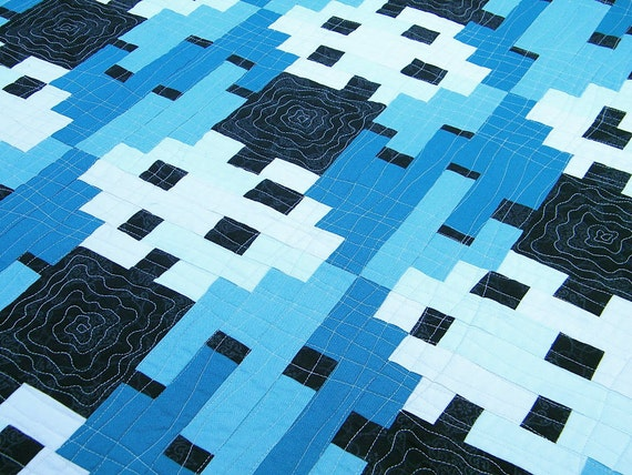 Modern Quilted Wall Hanging or Blue Table Topper