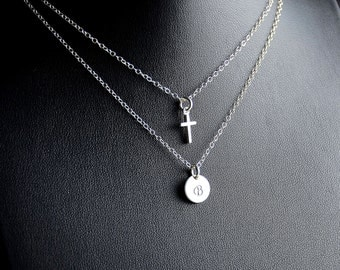 All Sterling Layered  Chain Necklace with an Initial and Cross, Dainty Love Friendship Family Personalized Sterling Jewelry