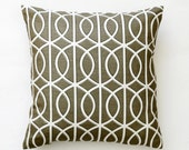 Dwell studio pillow cover - one new charcoal decorative pillows case - sham - throw - white chain print- custom size 0299