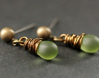BRONZE Earrings - Clouded Green Teardrop Earrings. Dangle Earrings. Post Earrings. Handmade Jewelry.