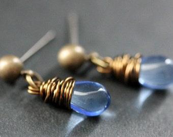 BRONZE Earrings - Sky Blue Teardrop Earrings. Dangle Earrings. Post Earrings. Handmade Jewelry.