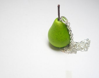 SALE - Pear  necklace -Green jewelry-  fruit charm- green necklace  Free Gift With Purchase