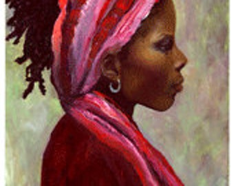 Alexandra- Glicee print of original oil portrait painting depicting a woman wearing a headwrap from Haiti