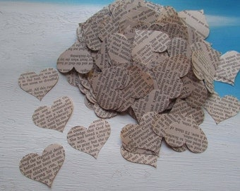 paper hearts wedding table confetti 500 heart punches die cut Biodegradable Gone with the Wind vintage 1967 book
