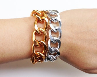ON SALE: Silver and Gold Plated chunky chain Bracelet - 24k gold plated