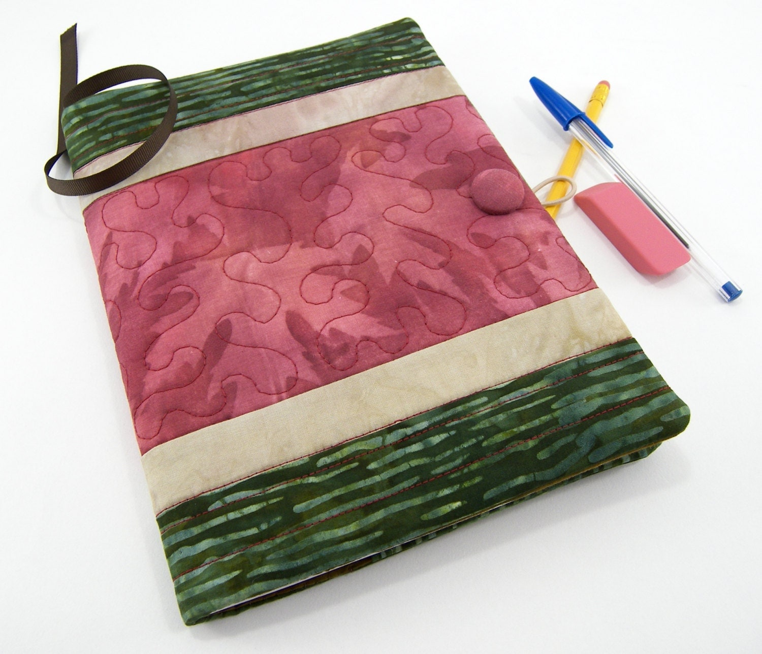 Quilted Composition Book Cover Pattern : Quilted fabric journal composition notebook cover