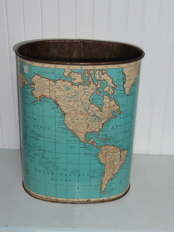 Vintage metal weibro world map waste paper basket trash can for Decorative items from waste