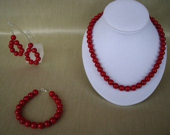 Simply Red Coral Jewellery Set