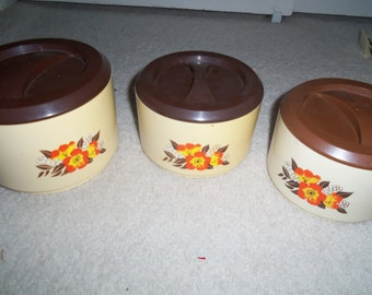 Vintage Sterilite Nested canister container set 70s coffee kitchen
