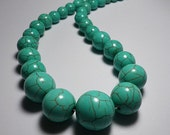 Turquoise Howlite Round Ball Graduating Beads 8mm - 18mm