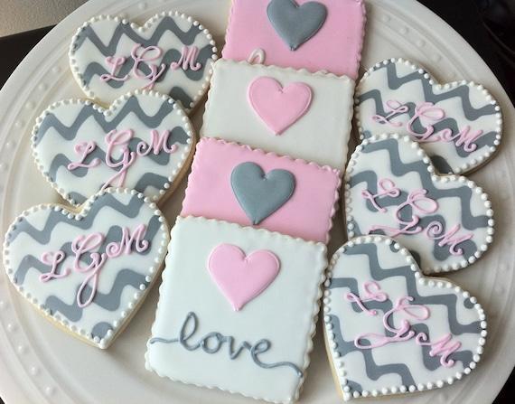 Items similar to Custom Chevron Monogrammed Hearts and ...