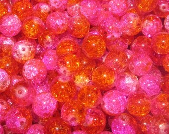 10mm Pink and Orange Crackle Glass beads - 30 Beads (057)