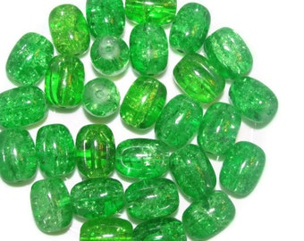 10 -16x12mm Crackle Glass Drum Beads - green -10 beads -16x12mm  (009)