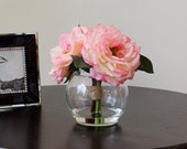 Real Touch Light Pink Orlane Rose Round Glass Vase Artificial Faux Arrangement
