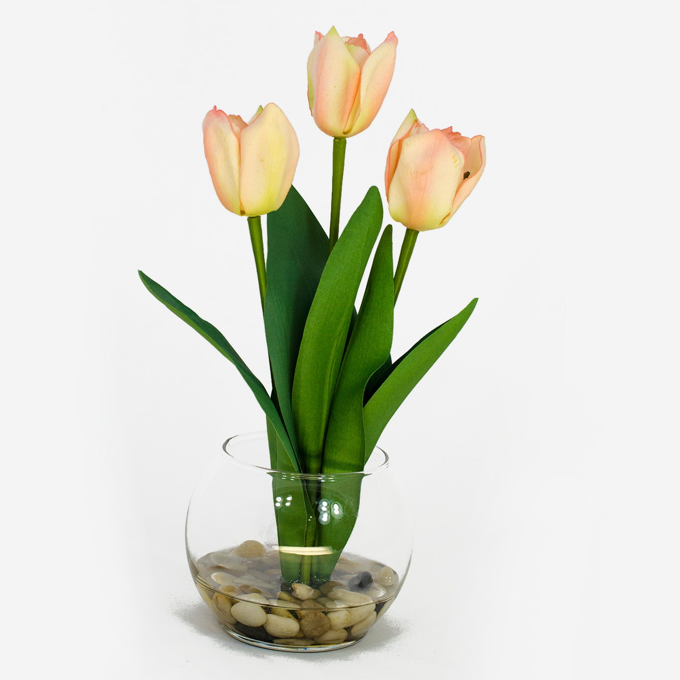 Real Touch Light Pink Tulip Arrangement In Round Glass Vase As