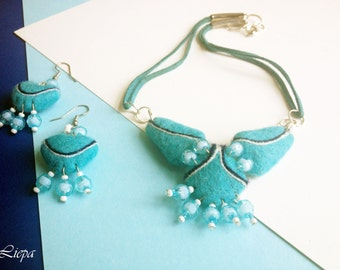 Sky blue felted Jewelry Set - Earrings and Neclace with glass beads Felted jewelry