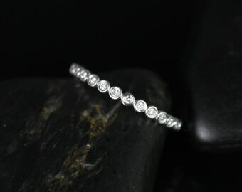 Petite Bubbles 14kt White Gold WITHOUT Milgrain Diamonds ALMOST Eternity Band (Available in Diamonds and Other Metals)