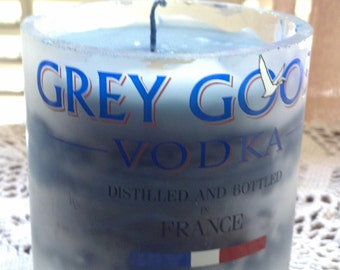 GREY GOOSE VODKA Candle made from  recycled upcycled glass bottle Man cave bar decor