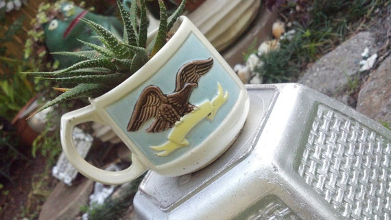 Live Succulents planted in a American Eagle Vintage mug / Dish Garden/ Plants/easy to care for/