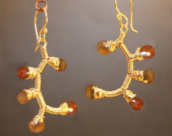 Branch earrings with mandarin garnet Guenevere 63