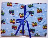 Pack n Play Sheet - Fitted Cotton Flannel Playard Sheet - Choo choo trains