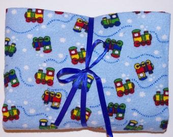 Pack n Play Sheet - Fitted Cotton Flannel Playard Sheet - Choo choo trains
