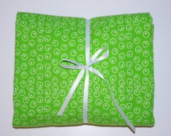 Pack n Play Sheet - Fitted Cotton Flannel Playard Sheet -  Lime Green Polka Dots