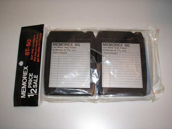 1960s-1980s Memorex Blank 60 8-Track Tape - 2 count