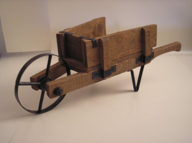 Vintage Rustic Wooden Wheelbarrow Miniature Flower Cart