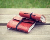 Leather Journal Set / Matching Set of Two - Pocket Size Journal