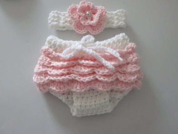Crochet Headband Ruffle Diaper Cover And Flower Headband Set