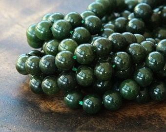 Mountain Jade Beads, Forest Green, 6mm Round - 15.5 Inch Strand - eMJR-G26-6