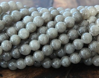 Mountain Jade Beads, Gray, 6mm Round - 15 Inch Strand eMJR-G23-6
