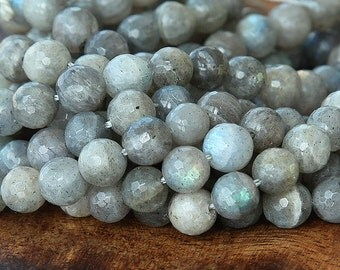 AA Grade Labradorite Beads, 8mm Faceted Round - 15.5 inch strand 50 beads - eGF-LB001-8
