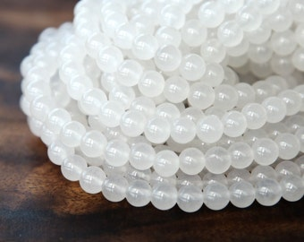 Dyed Jade Beads, White Semi-Transparent, 6mm Round - 15 Inch Strand - eSJR-N47-6