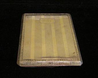 Vintage 1920s Cigarette Case Cigarette Box EBM Company Silver Tone Art Deco Made in USA Good Condition