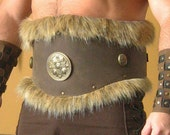 Medieval Celtic Viking Barbarian Leather Belt Deluxe with Fur