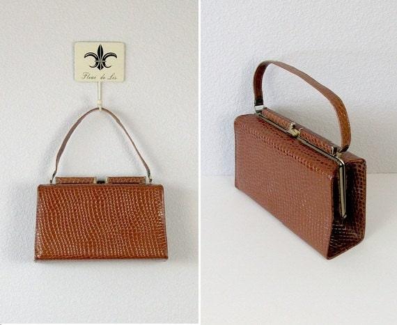 Vintage 1950s Handbag, 1950s Purse,  Alligator Purse, Alligator Handbag, Crocodile Handbag, Crocodile Purse, Box Purse, Caramel, 50s Purse