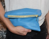 "Upcycled, Lined Sky Blue Leather Clutch, OOAK - 9"" wide"
