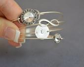 Sparkle Bangle Bracelet Set- Silver Bangle Set- Personalized Bangle- Silver Rhinestone Jewelry- Rhinestone- Bridesmaids Gifts- Stamped