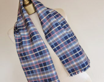 TARTAN scarf, taffeta PLAID scarf,  scarf for a man or a woman , 1950s fashion, vintage scarves, long taffeta scarf,
