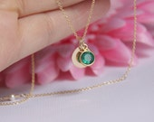 personalized necklace-initial birthstone necklace-birthstone initial necklace