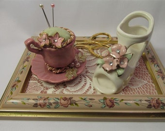 SALE: 30.00 Darling Shoe and  Tea Cup Pin Cushion Set
