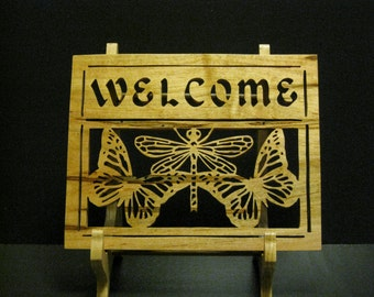 Fretwork Butterfly/Dragonfly Welcome Sign Made From Amrosia Soft Maple 2