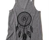 Womens Tribal Boho DREAMCATCHER dream catcher Tri Blend Tank Top American Apparel Gray Black S M L XL
