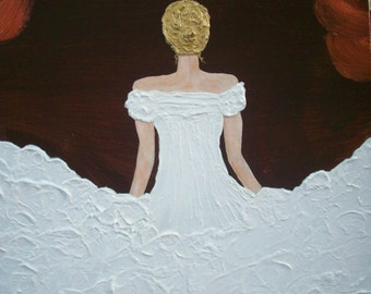 Pretty in White 14x18 Heavy textured original painting