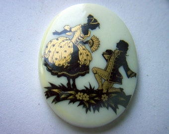 Vintage Plastic Cabochon The Art of Courtship x 2    # U 1-2-3