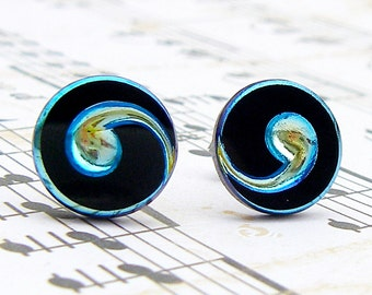 Comma - Czech glass button stud earrings, repurposed, up cycled button post earrings